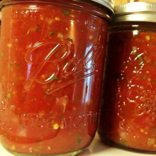 This restaurant style freezer salsa recipe is so tasty, thick, smooth with just the right amount of chunkiness.  It is easy to make and freeze.