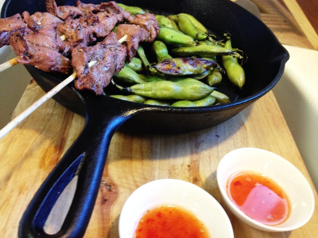 This Thai Beef Kebabs and Fava Beans recipe is a delicious meal of tender beef seasoned with soy sauce, ginger, lime and garlic along with tasty fava beans.