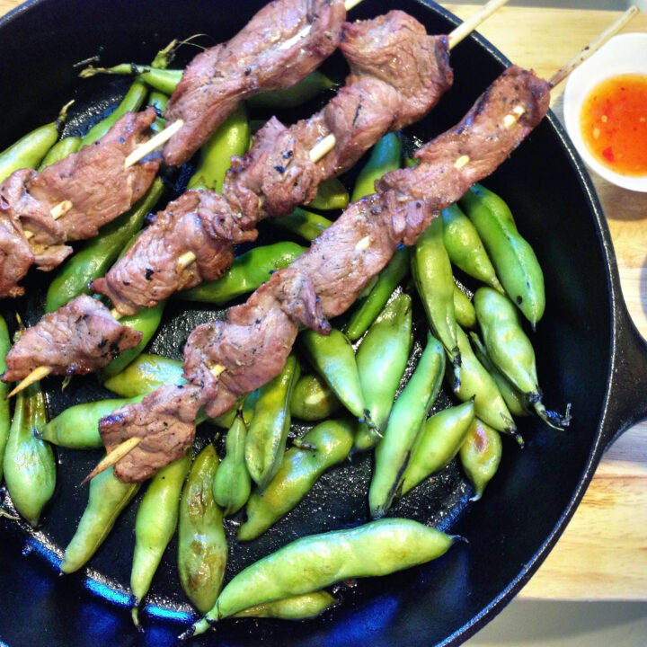 This Thai Beef Skewers and Fava Beans recipe is a delicious meal of tender beef seasoned with soy sauce, ginger, lime and garlic along with tasty fava beans.