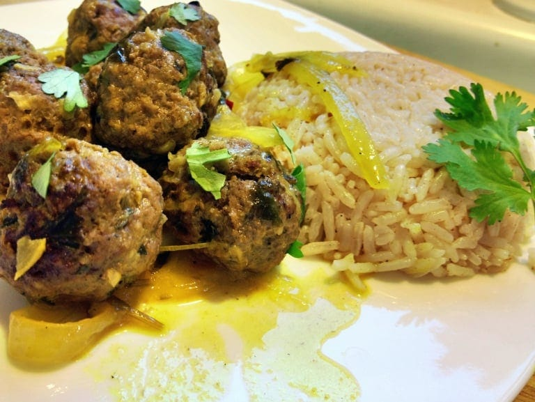This Kefta Moroccan recipe combines ground beef with Moroccan spices and other seasonings for a delicious, flavorful Moroccan meatballs appetizer or main dish served with rice, salad or couscous.