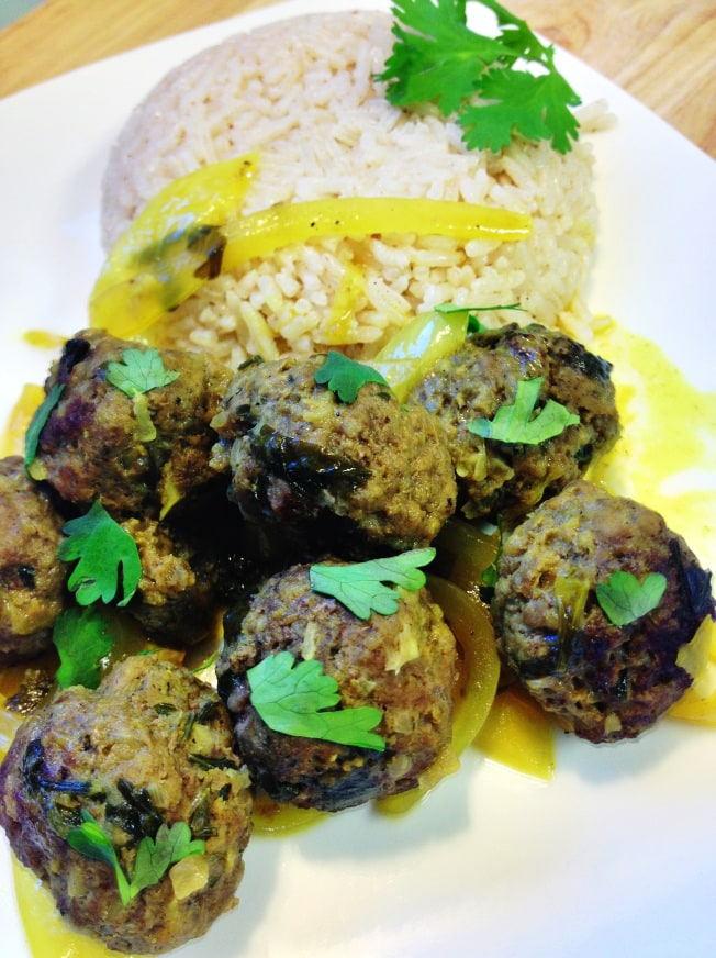 This Moroccan meatball recipe combines ground beef with Moroccan spices and other seasonings for a delicious, flavorful Moroccan meatballs appetizer or main dish served with rice, salad or couscous.