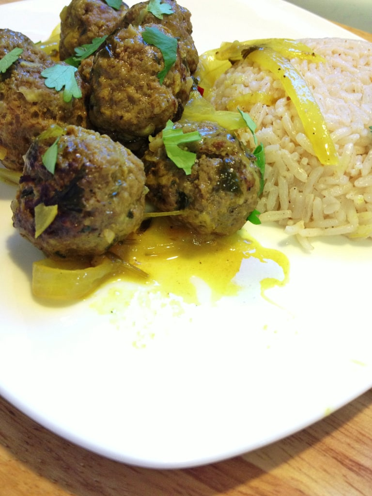 This Moroccan meat balls recipe combines ground beef with Moroccan spices and other seasonings for a delicious, flavorful Moroccan meatballs appetizer or main dish served with rice, salad or couscous.
