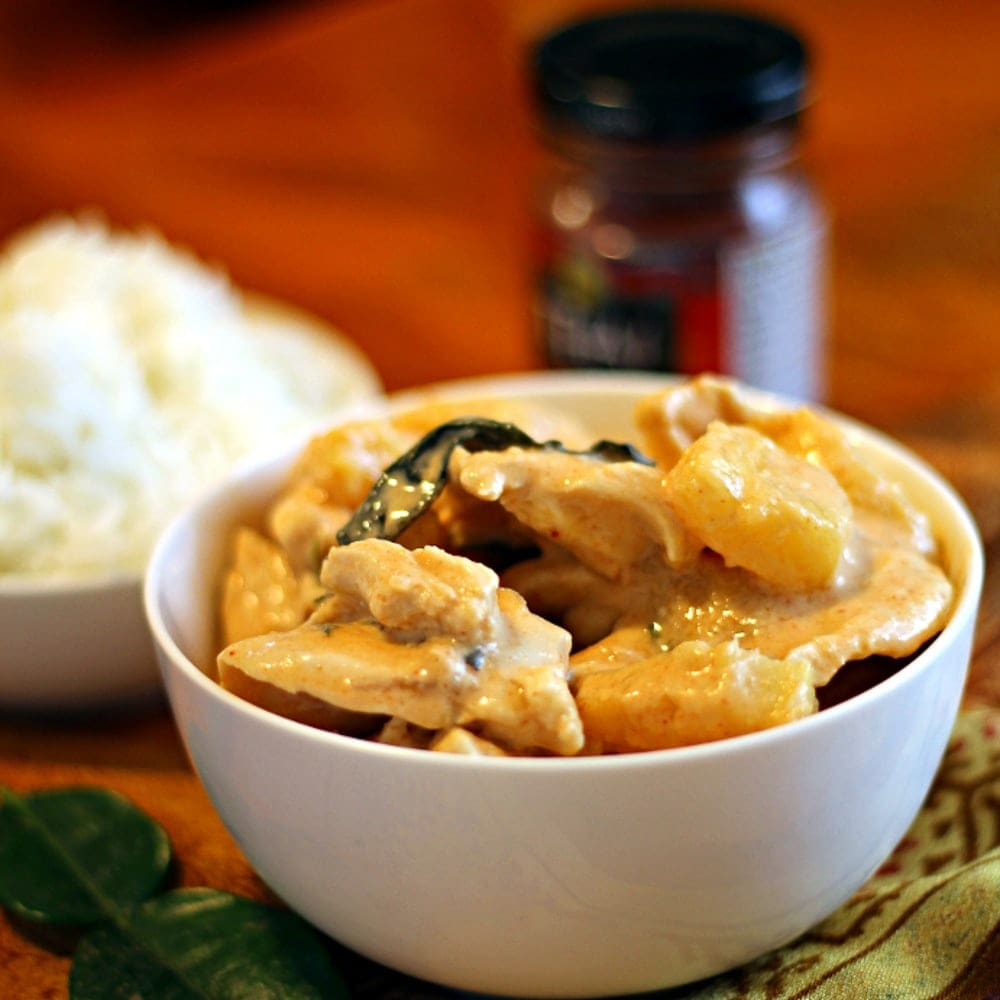 This Tropical Thai Chicken Curry recipe is a mix of spicy curry and sweet pineapple and mango chunks for a delicious chicken dish your family will love!