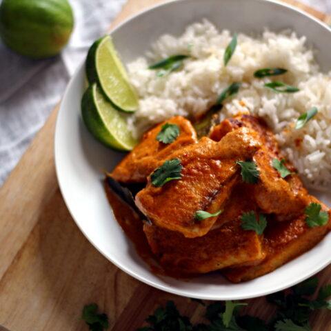 Crispy Tilapia in Thai Coconut Curry Sauce
