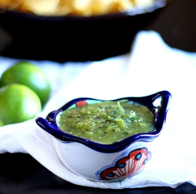 This delicious Kiwi Salsa Verde is made with kiwi, tomatillos, onion, cilantro, lime juice, jalapeño peppers and a little sugar and salt for a fresh taste.