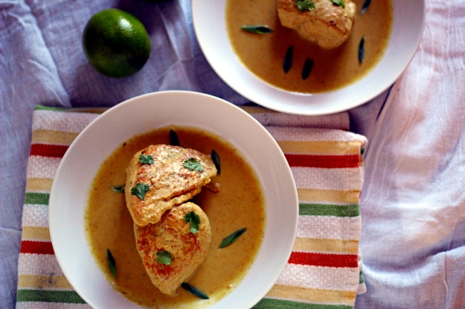 This Thai Curry Braised Chicken is delicious, with your choice of red, green or yellow curry paste, coconut milk and lime juice with four ways to make it, including freezer to slow cooker.