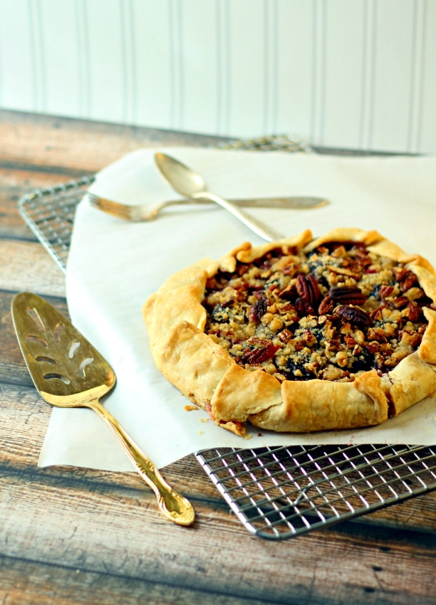 This Plum and Pecan Galette recipe only takes 30 minutes to make this impressive, delicious dessert.