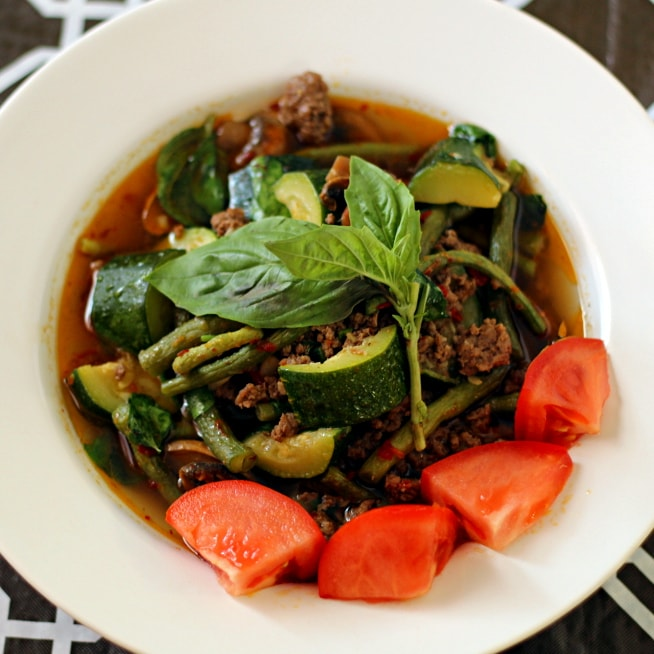 Looking for Thai Beef Soup Recipes? Here is a delicious one! This Rustic Thai Beef Soup recipe is amazing. It's full of nutritious vegetables, hearty ground beef, and a rich and flavorful broth. Plus, it's done in only a half hour!
