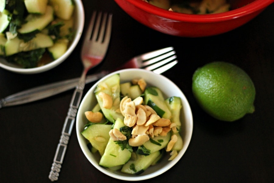 Searching for a cashew nut salad recipe? Here is a delicious one! This Thai cucumber salad recipe mixes cucumbers, cashews, with a brown sugar, chili-garlic sauce, cilantro and lime juice for a delicious salad to add to your next Thai dinner.