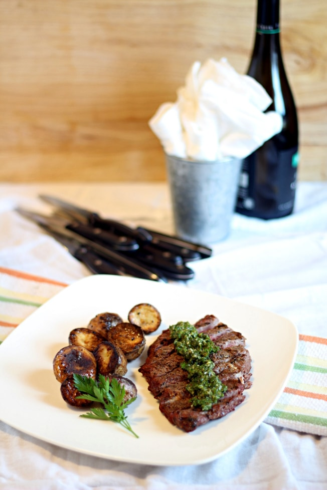 This Argentinian Coffee Rub Steak recipe features a delicious espresso and spice rub and fresh, homemade chimichurri sauce for a tasty meal.