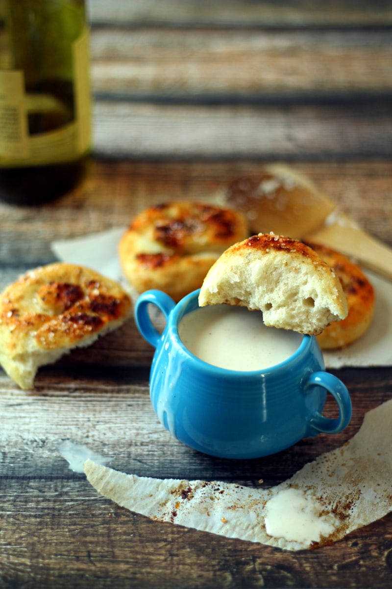 Quick Slow Cooker Cheese Fondue Recipe from The Wanderlust Kitchen