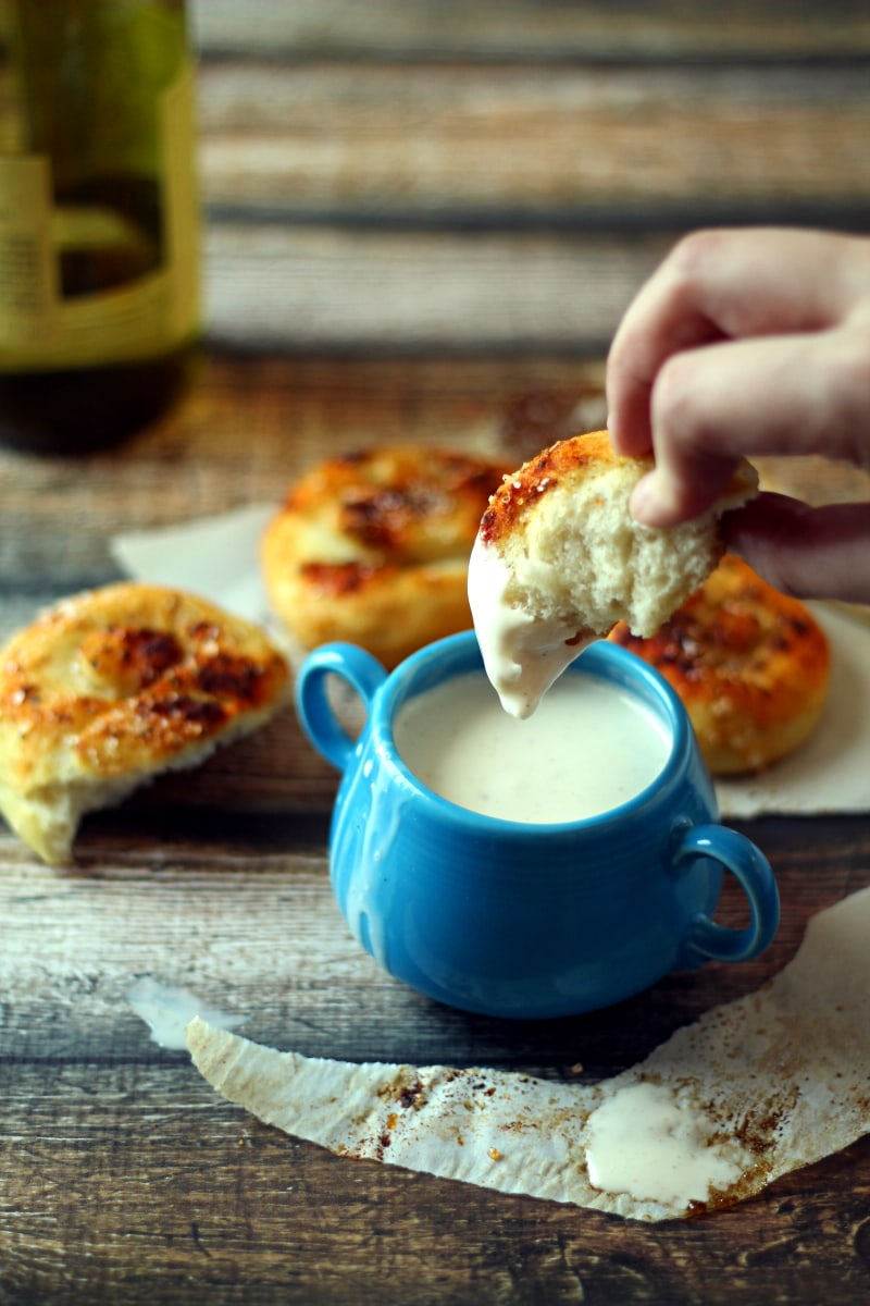Quick Slow Cooker Cheese Fondue with Wine recipe from The Wanderlust Kitchen