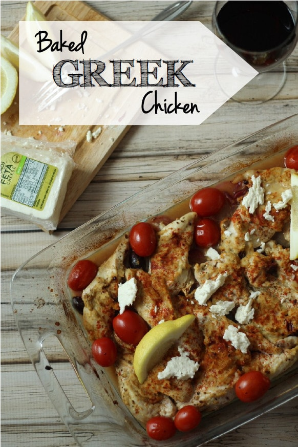 This easy Greek baked chicken breast with lemon zest, red onion, kalamata olives and spices is a flavor-filled delight! Place this tasty chicken on a bed of spinach with Feta cheese for a simple and delicious meal.