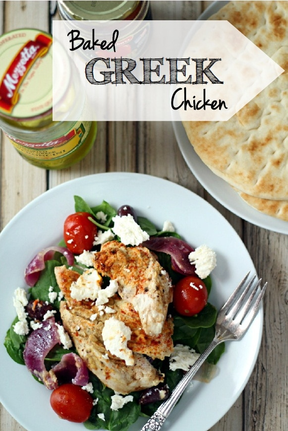 This easy Greek chicken recipe baked with lemon zest, red onion, kalamata olives and spices is a flavor-filled delight!  Place this tasty chicken on a bed of spinach with Feta cheese for a simple and delicious meal.