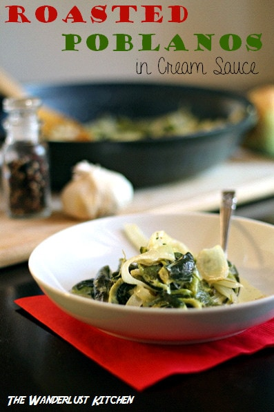 Roasted Poblanos in Cream Sauce
