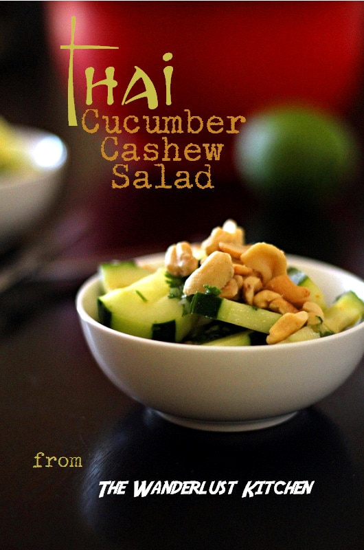 Thai Cucumber Cashew Salad: This Thai cucumber salad recipe mixes cucumbers, cashews, with a brown sugar, chili-garlic sauce, cilantro and lime juice for a delicious salad to add to your next Thai dinner.