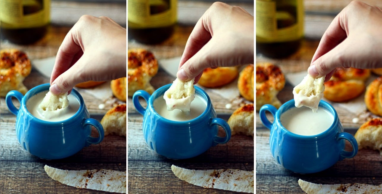 Quick Crock Pot Cheese Fondue Recipe from The Wanderlust Kitchen
