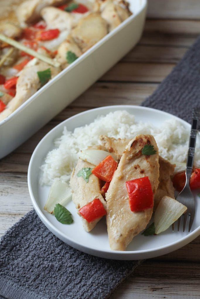 This Thai Peanut Chicken Bake recipe is simple and delicious. Marinate the night before and make a busy weeknight dinner easy!