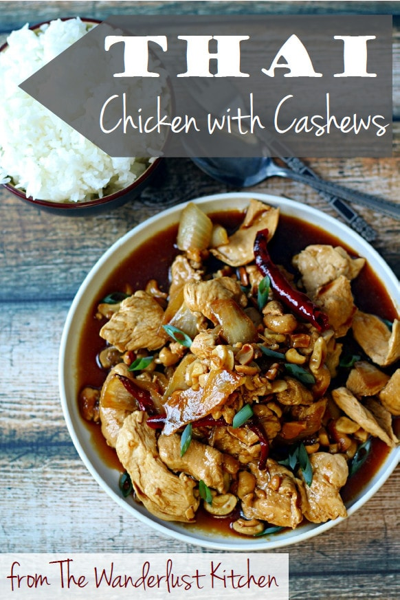 This Thai Chicken and Cashew Nuts recipe is an easy stir-fry recipe that is so flavorful! This cashew chicken Thai stir-fry combines chicken, yellow onion, green onion, dried red chilies, garlic, and toasted cashews for a delicious meal that is ready in 20 minutes.