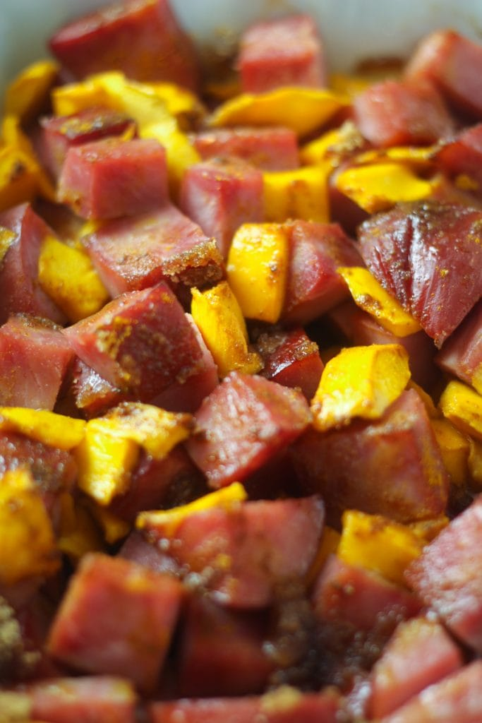 This Curried Ham with Mangoes is delicious and a great way to use up extra ham and have a meal in 15 minutes!