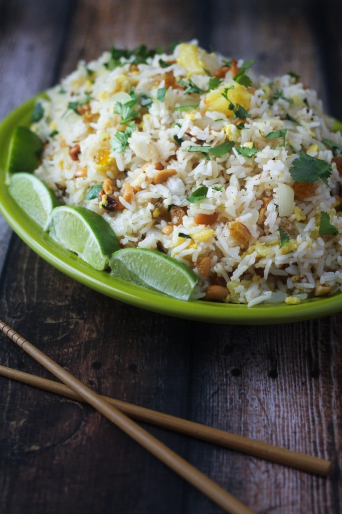 This Thai Paradise Fried Rice recipe uses cashews, pineapple, scallions and sweet golden raisins for a delicious raisin fried rice that can be a side dish or a main dish.