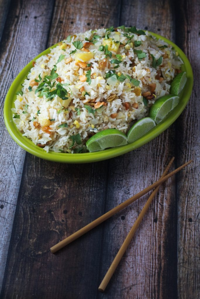 This Thai fried rice paradise best fried rice recipe uses cashews, pineapple, scallions and sweet golden raisins for a delicious fried rice that can be a side dish or a main dish.