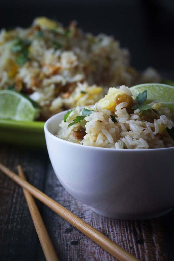 This Thai Paradise Fried Rice recipe uses cashews, pineapple, scallions and sweet golden raisins for a delicious fried rice with raisins that can be a side dish or a main dish.