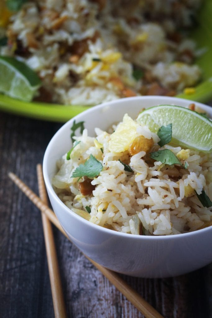 This Thai Paradise Fried Rice recipe uses cashews, pineapple, scallions and sweet golden raisins for a delicious fried rice that can be a side dish or a main dish.