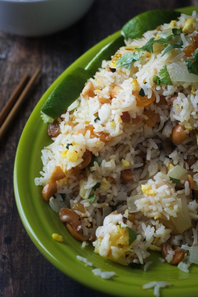 This Thai Fried Rice Paradise recipe uses cashews, pineapple, scallions and sweet golden raisins for a delicious fried rice that can be a side dish or a main dish.