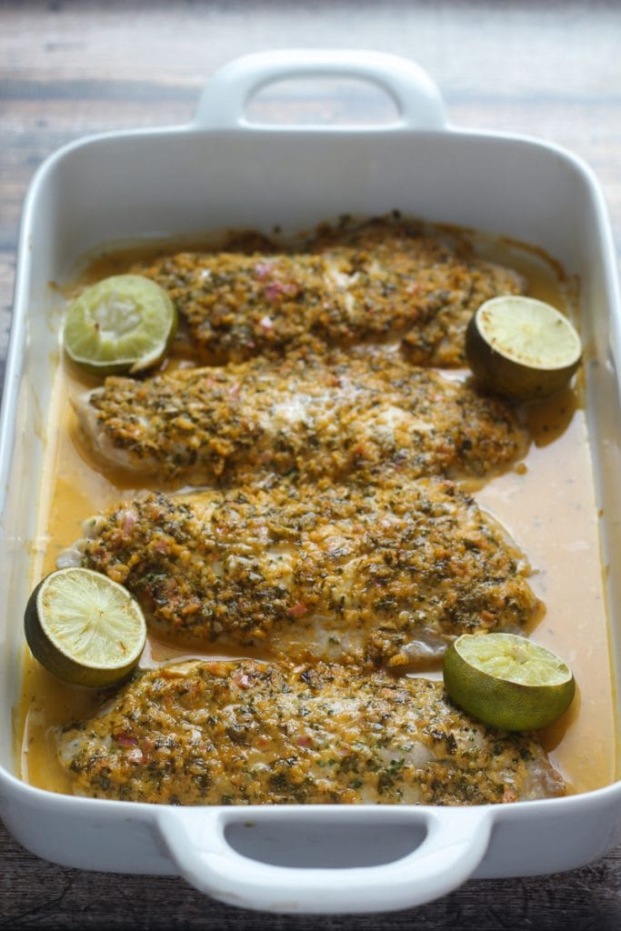 Looking for healthy snapper recipes?  Here is a great one! This healthy snapper recipe, Snapper Barbados, combines lime juice, parsley, thyme, shallots, garlic and spices for a delicious tropical snapper dish.