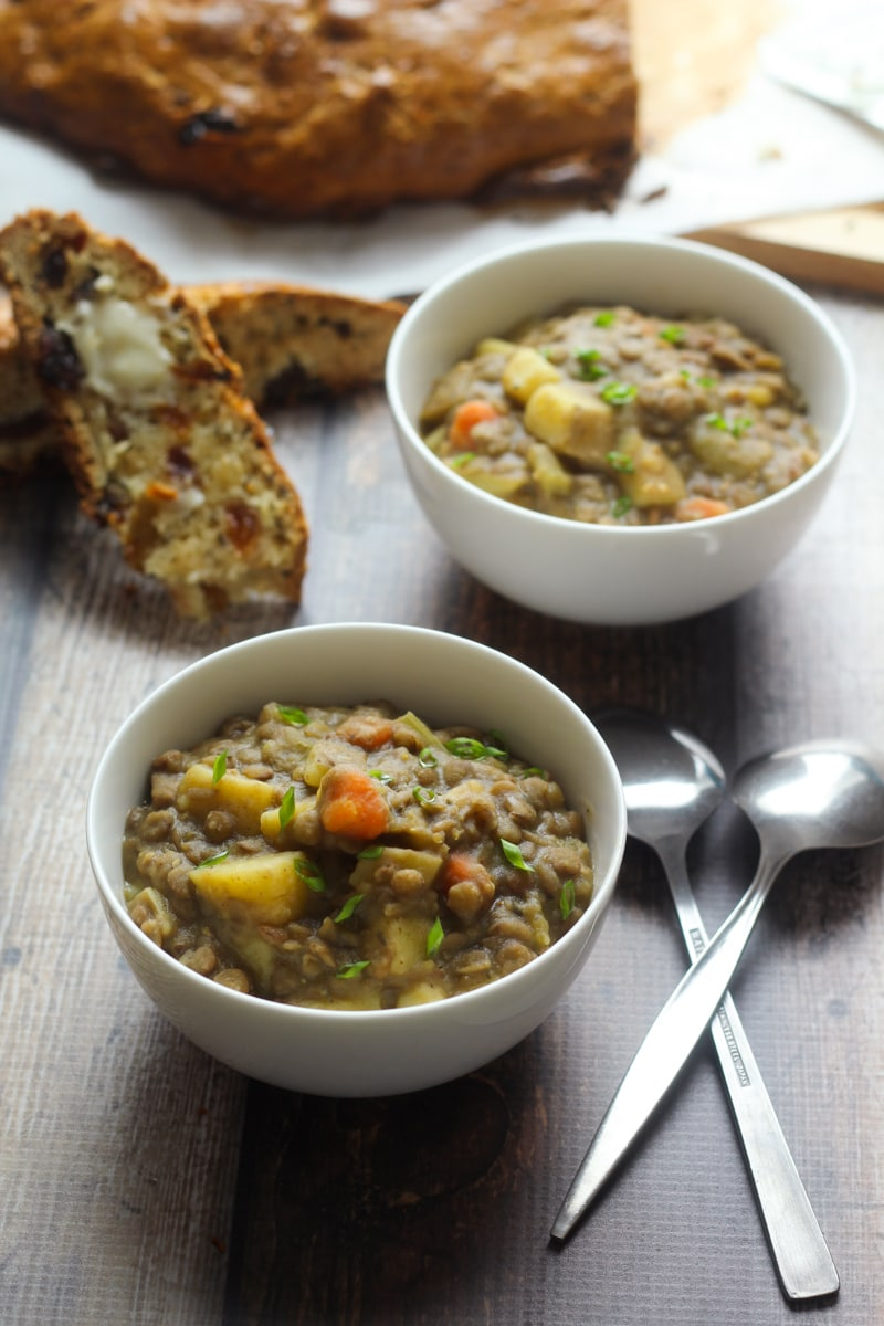Bavarian Lentil Soup : Smoky bacon, sharp leeks, and a splash of vinegar add bold flavor to this traditional German lentils soup recipe. Serve along with homemade German spaetzle!