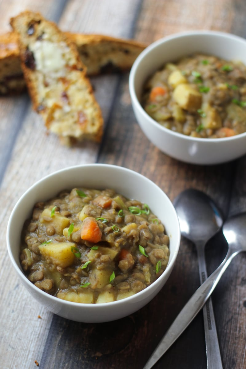 Lentil Soup German: Smoky bacon, sharp leeks, and a splash of vinegar add bold flavor to this traditional German lentil soup recipe. Serve along with homemade German spaetzle!