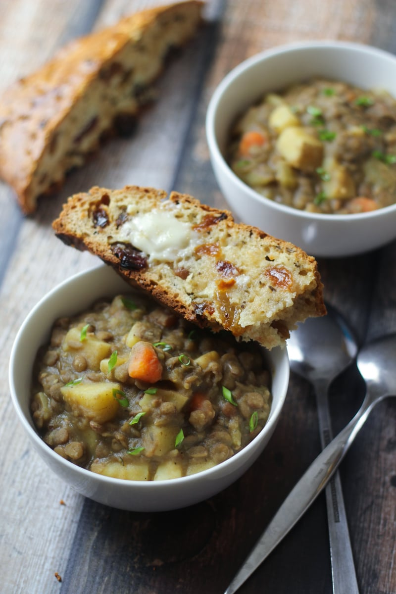 Bavarian Lentil Soup Smoky bacon, sharp leeks, and a splash of vinegar add bold flavor to this traditional German lentil soup recipe. Serve along with homemade German spaetzle!