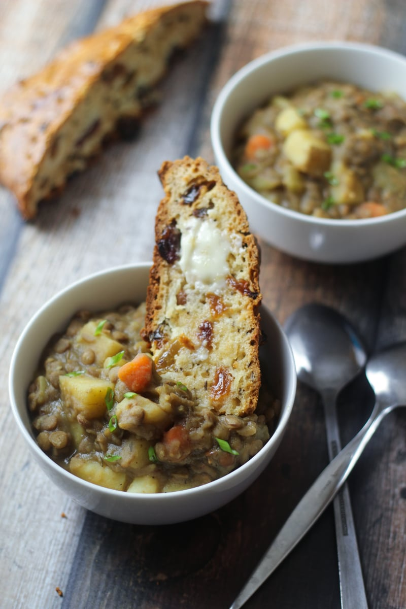 German lentil stew: Smoky bacon, sharp leeks, and a splash of vinegar add bold flavor to this traditional German lentil soup recipe. Serve along with homemade German spaetzle!