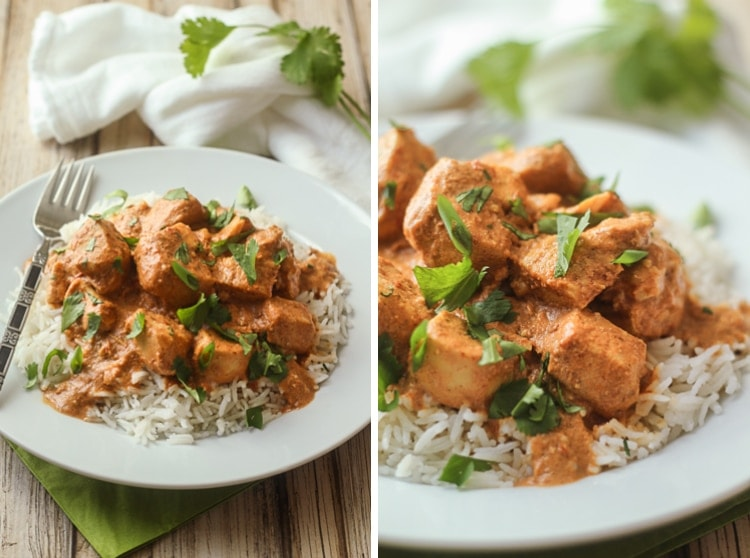 This healthy chicken tikka masala slow cooker recipe is delicious!