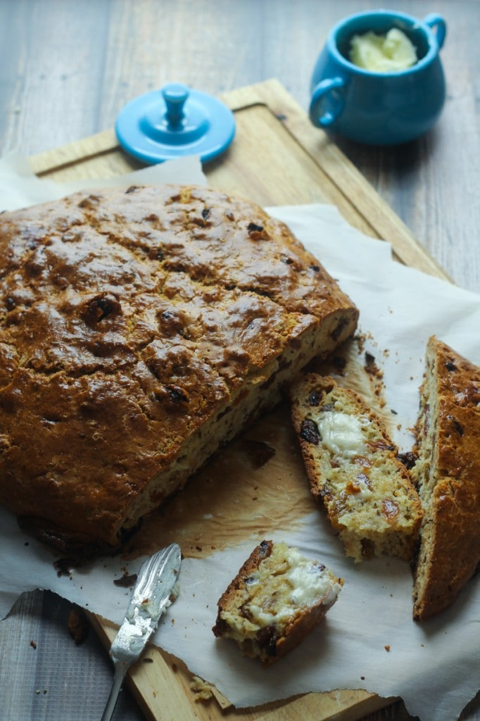 This delicious, Savory Irish Soda Bread recipe is easy to make, you don't have to wait for the dough to rise, and with raisins and caraway seeds, it has a great flavor!