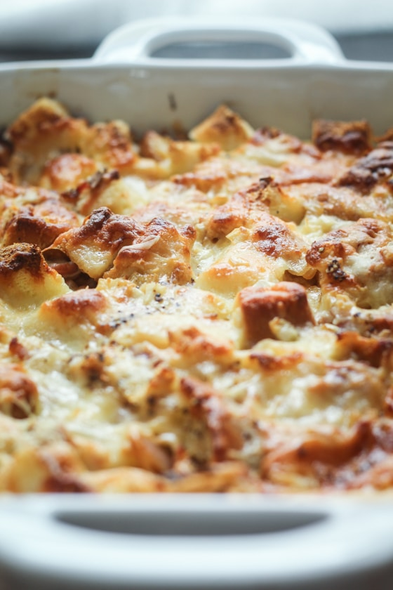 Overnight Egg And Cheese Strata Recipe — Dishmaps
