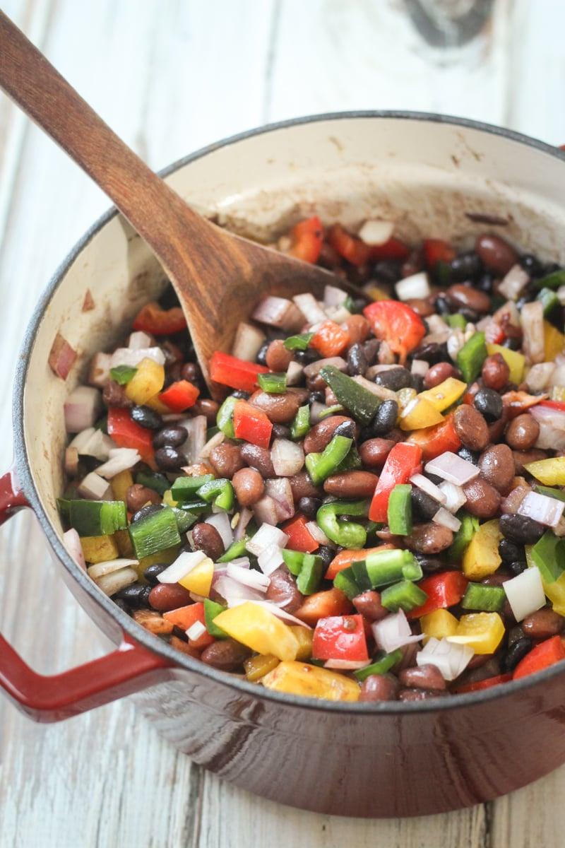 Mexican Three Bean and Three Pepper Salad | thewanderlustktichen.com