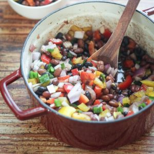 Mexican Three Bean and Three Pepper Salad | thewanderlustkitchen.com