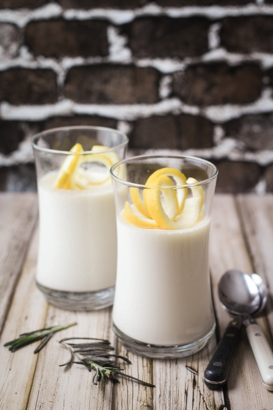 Looking for panna cotta recipes? Here is a great one! This Rosemary Lemon Panna Cotta recipe brings fragrant rosemary and vibrant lemon flavors together for an over the top taste!