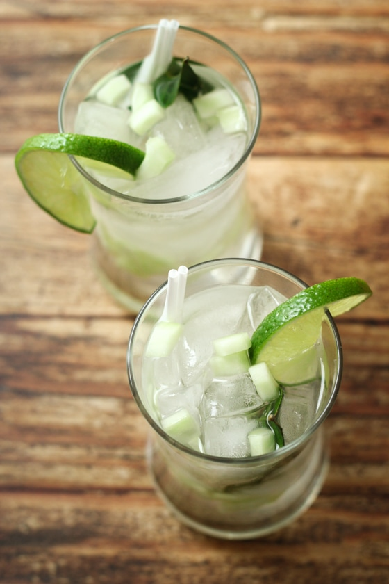 This Thai Lime Leaf Cooler recipe blends lime leaves, ginger root, sugar, cucumber, club soda and vodka for a refreshing drink!