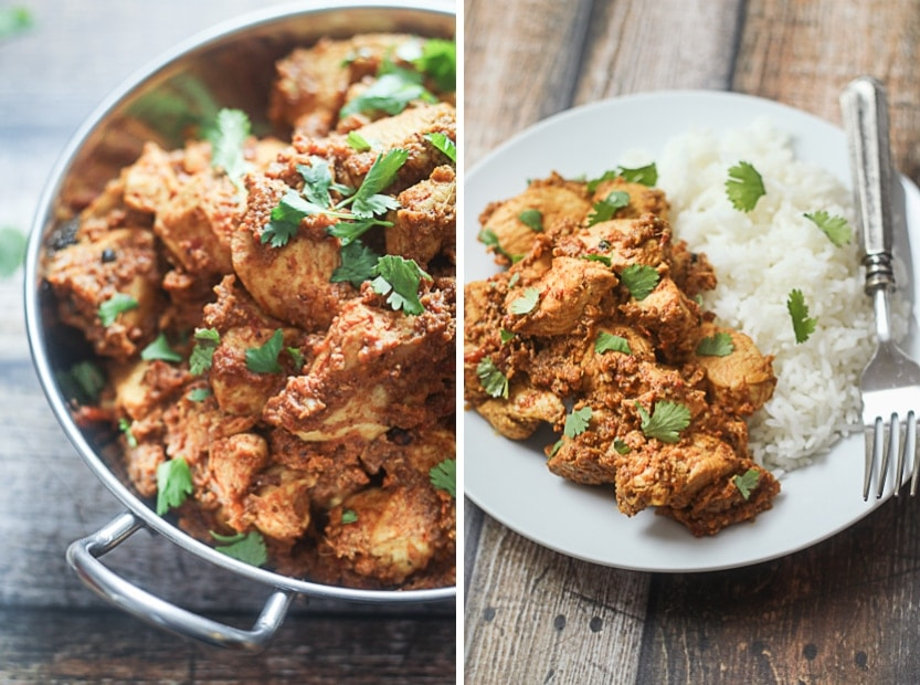 An easy and delicious Pepper Chicken Indian recipe with chicken breasts, tomatoes, onion, fragrant spices and robust peppercorns.