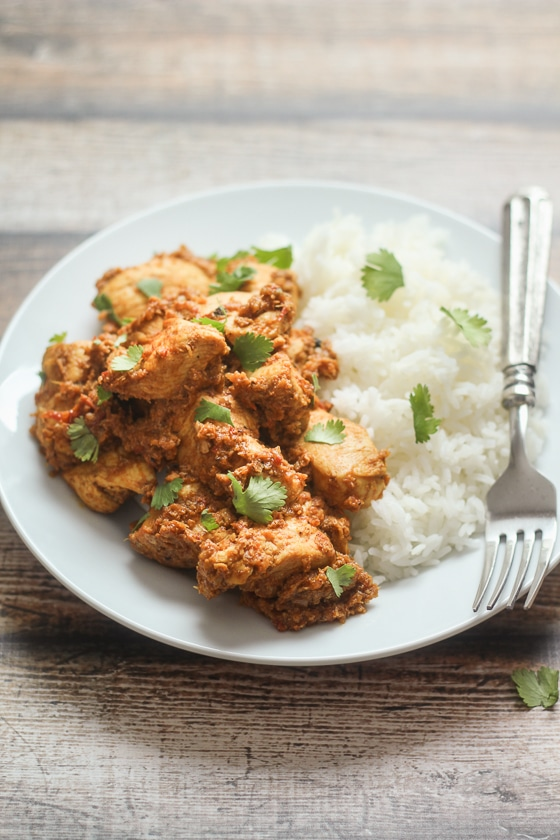 An easy and delicious Indian Pepper Chicken Masala recipe with chicken breasts, tomatoes, onion, fragrant spices and robust peppercorns.