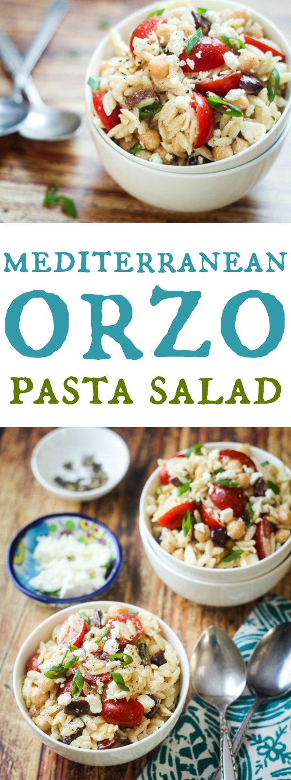 Orzo-lovers, unite! This easy Mediterranean orzo pasta salad is made with hearty chickpeas, sweet grape tomatoes, funky feta cheese, and a creamy dressing made with nonfat Greek yogurt. My go-to potluck dish!