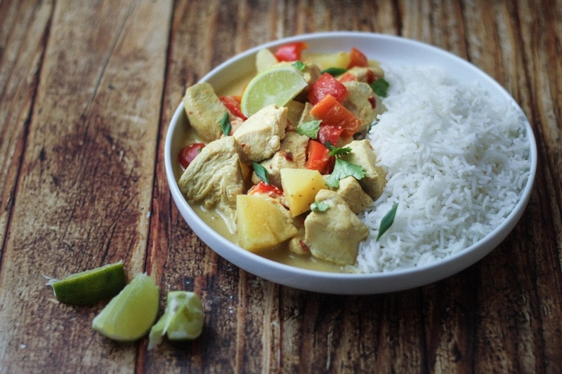 A simple, but delicious Slow Cooker Chicken Curry Coconut Milk recipe made with red bell peppers, carrots, potatoes and a coconut curry sauce. Serve over jasmine or basmati rice with fresh cilantro.