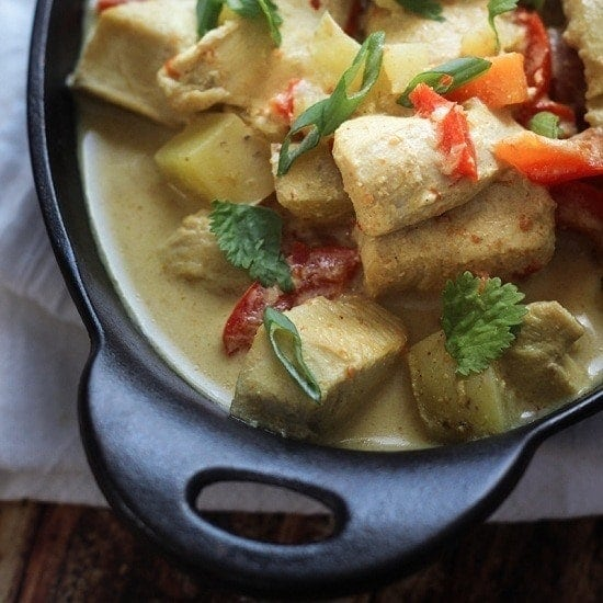 A simple, but delicious Slow Cooker Chicken Curry recipe made with red bell peppers, carrots, potatoes and a coconut curry sauce. Serve over jasmine or basmati rice with fresh cilantro.