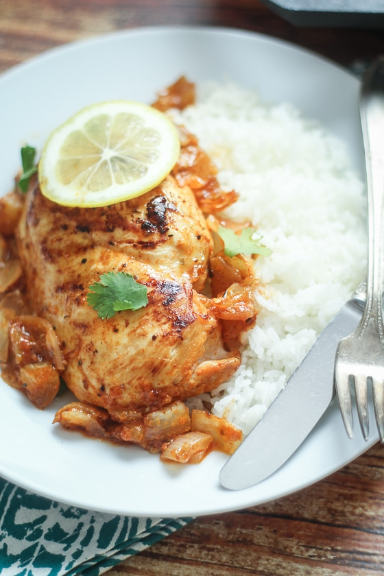 peri peri chicken African  (chicken simmered in a spiced lemon-onion sauce). So easy and different!