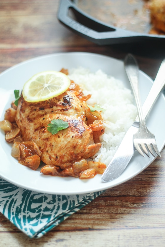 peri peri African chicken  (chicken simmered in a spiced lemon-onion sauce). So easy and different!