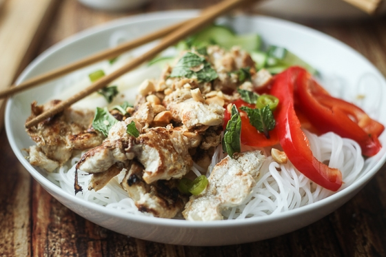 "A delicious and fun recipe for Vietnamese Vermicelli bowls, also known as ""bun,"" with rice noodles, chicken, red pepper, daikon, cucumber, and mint. This vermicelli Vietnamese recipe is delicious!"