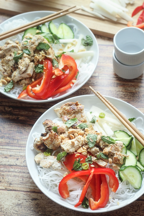 "A delicious and fun recipe for Vietnamese Vermicelli bowls, also known as ""bun,"" with rice noodles, chicken, red pepper, daikon, cucumber, and mint. Bun Vietnamese is so good!"